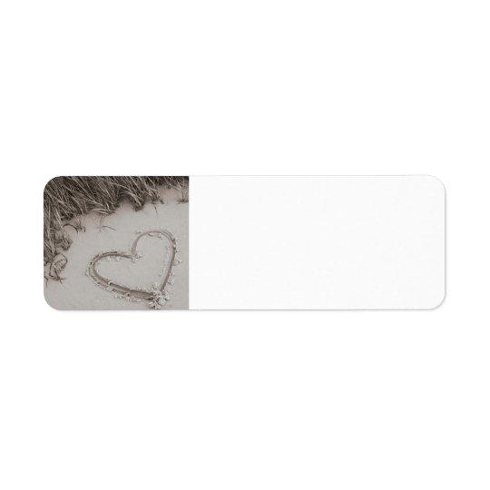 Etikett för returadress för strandhjärtaSepia Returadress Etikett