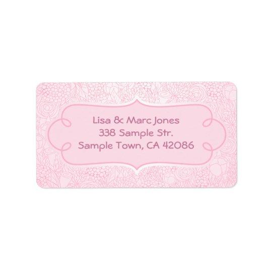 Etikett för rosablommaadress adressetikett
