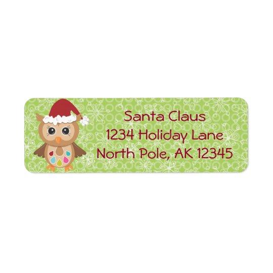 Etikett för Santa ugglareturadress Returadress Etikett