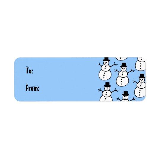 Etikett för snögubbegåvamärkre returadress etikett