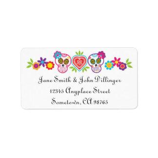 Etikett för sockerdöskallar- och blommareturadress adressetikett