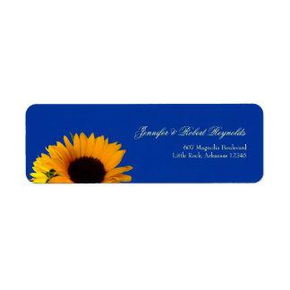 Etikett för solrosbröllopadress returadress etikett