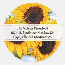 Etikett för solrosrundareturadress runt klistermärke