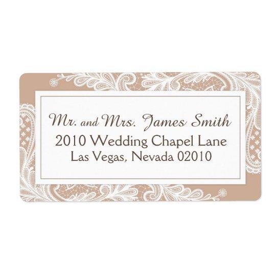 Etikett för taupe- och vitsnörebröllop fraktsedel