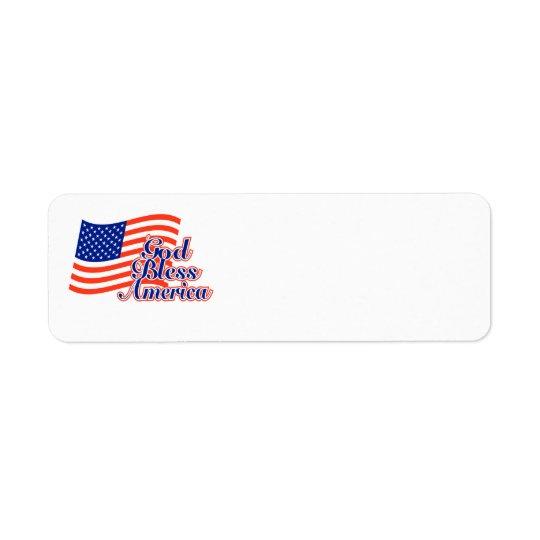 Etikett för välsigna digAmerika returadress Returadress Etikett