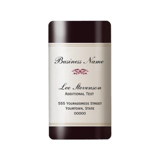Etikett för vinaffärsadress adressetikett