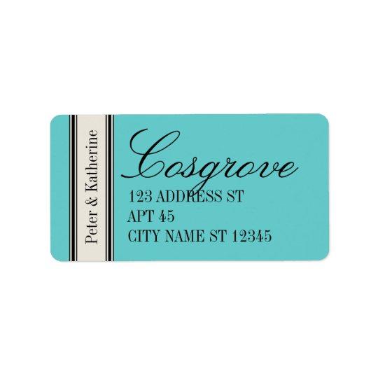 Etikett för vintageklassikeradress, blått adressetikett