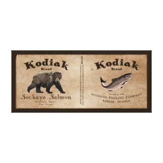 Etikett för vintageKodiaklax Canvastryck
