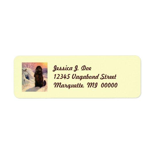 Etikett för vinterchickadee- & bäverreturadress returadress etikett