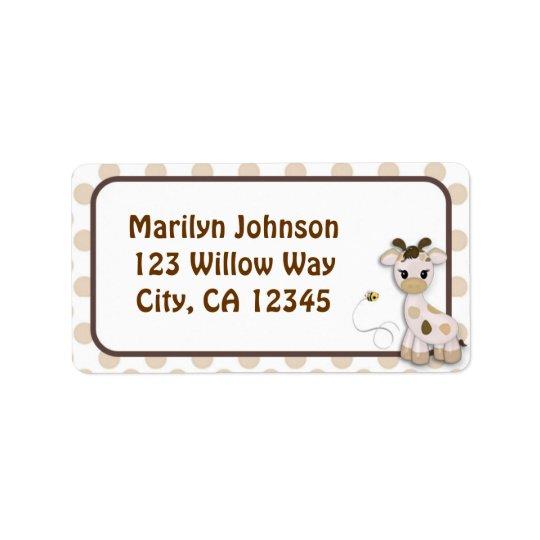 Etiketter för etikett för Snickerdoodle giraff- & Adressetikett