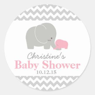 Etiketter för favör för babyelefantbaby shower runt klistermärke