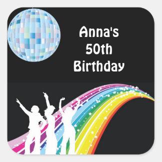 Etiketter för favör för diskodansfödelsedagsfest fyrkantiga klistermärken