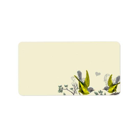 Etiketter för för vintagefågelgult & grå färg adressetikett
