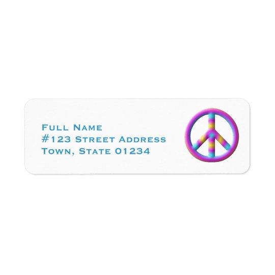 Etiketter för fredsymbolbrevskickande returadress etikett