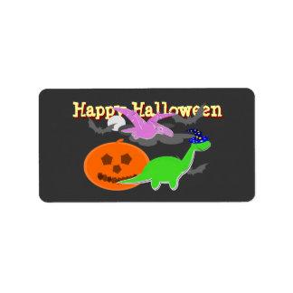 Etiketter för klistermärke för happy halloweenDino Adressetikett