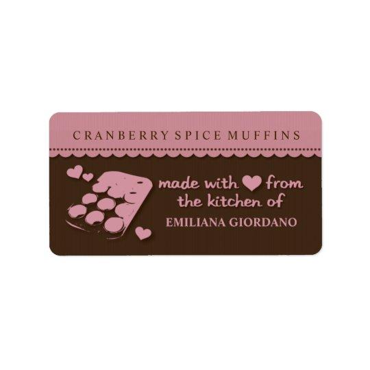 Etiketter för kök för gåva för kärlekmuffinmat adressetikett