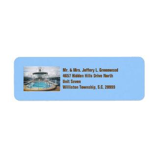 Etiketter för kryssningfraktbassäng returadress etikett