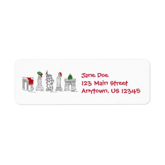 Etiketter för Landmarks för New York City NYC Returadress Etikett