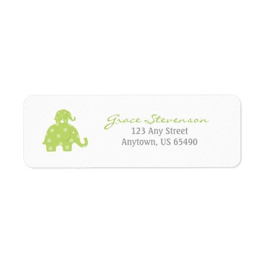 Etiketter för mamma- och babyelefantbaby returadress etikett