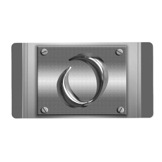 Etiketter för nolla för brev för metallMonogram Fraktsedel