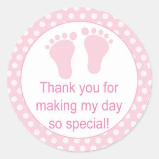 Etiketter för polka dots för babyfot rosa