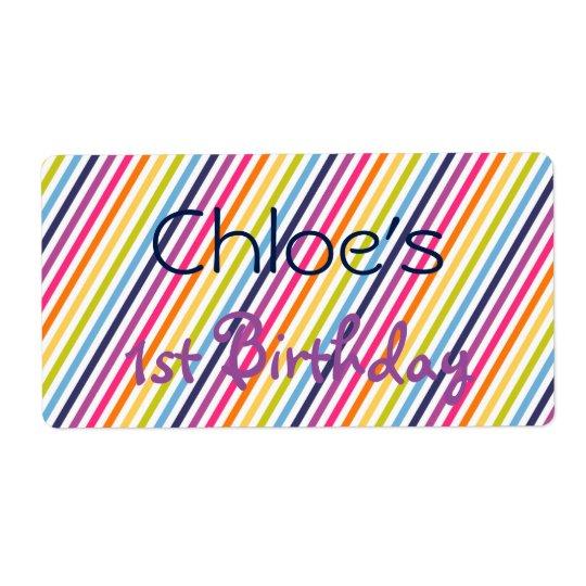 Etiketter för regnbågefödelsedagvattenflaska fraktsedel