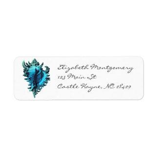 Etiketter för snäcka för Aquablåtthav Returadress Etikett