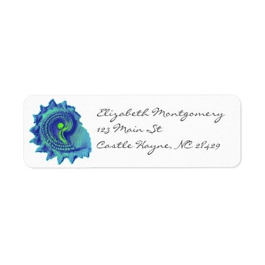 Etiketter för snäcka för hav för havblåttspiral returadress etikett