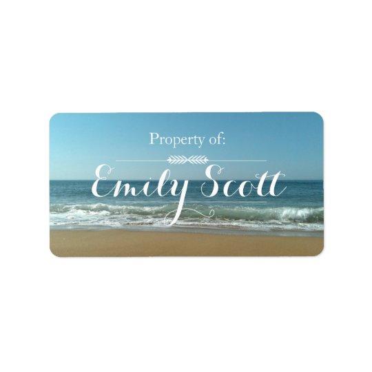 Etiketter för strandkustnamn adressetikett