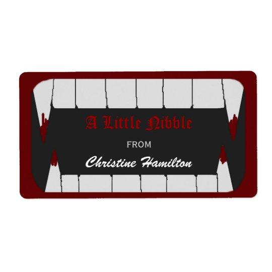 Etiketter för vampyrbitaHalloween bakning Fraktsedel