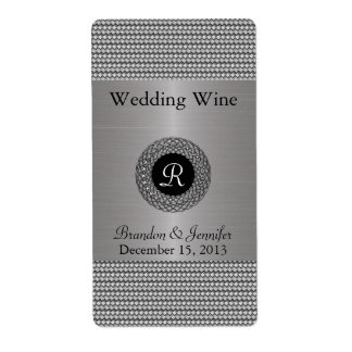 Etiketter för vin för elegantt metallLookbröllop m Fraktsedel