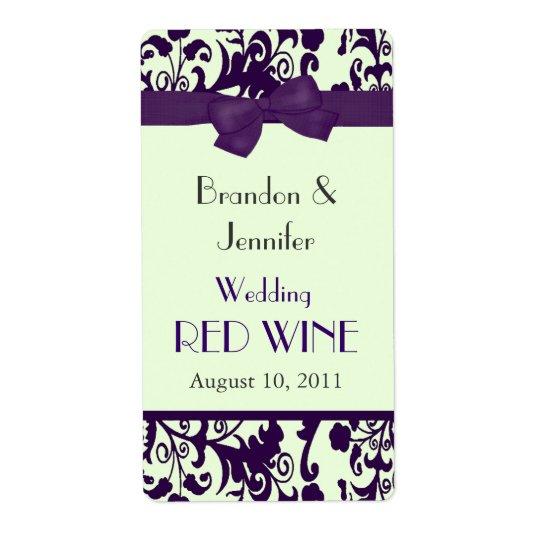 Etiketter för vin för lila- och gröntbröllop mini- fraktsedel