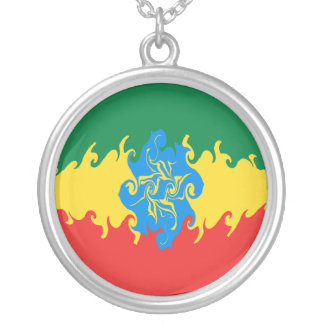 Etiopien Gnarly flagga Halsband Med Rund Hängsmycke