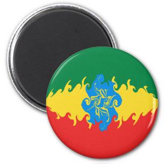 Etiopien Gnarly flagga Kylskåpsnagnet