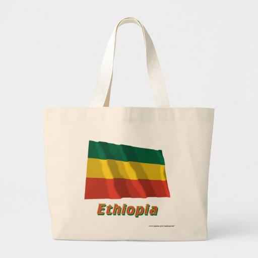 Etiopien som vinkar borgerlig flagga med namn kassar