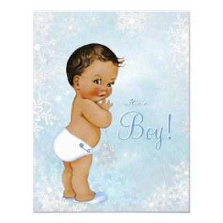 Etnisk baby shower för pojkevinterunderland 10,8 x 14 cm inbjudningskort