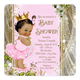 Etnisk baby shower för Princess Tutu Rosa Guld Fyrkantigt 13,3 Cm Inbjudningskort