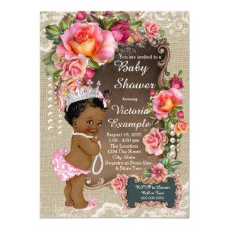 Etnisk Princess baby shower för Burlapsnörepärla 11,4 X 15,9 Cm Inbjudningskort
