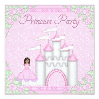 Etnisk Princess & rosa Princess Festa för slott Fyrkantigt 13,3 Cm Inbjudningskort