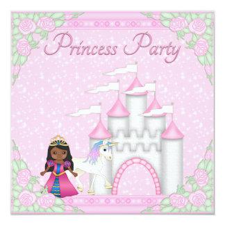 Etnisk Princess, Unicorn & slottPrincess Festa Fyrkantigt 13,3 Cm Inbjudningskort