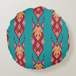 Etnisk stam- aztec prydnad för vintage rund kudde