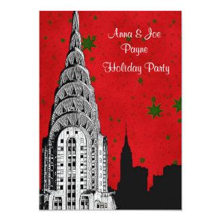 Etsad Chrysler 2 julhelgdag för NYC horisont 12,7 X 17,8 Cm Inbjudningskort