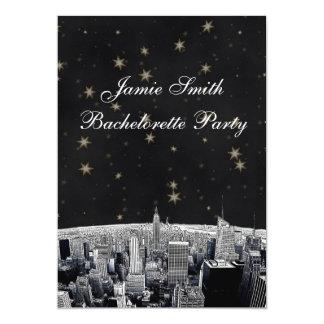 Etsad svart Gld för NYC-horisont 2 stjärna 12,7 X 17,8 Cm Inbjudningskort