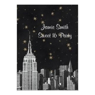Etsad svart Starry sötsak 16 V för NYC-ESB 12,7 X 17,8 Cm Inbjudningskort