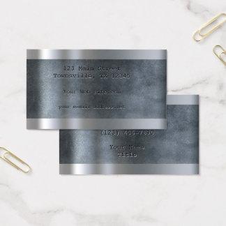 Etsade metalliska pläterar blått visitkort