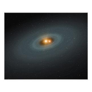 Ett åtsittande parar av stjärnor och en omgeende fototryck