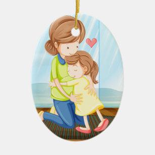 Ett barn som kramar henne mor julgransprydnad keramik 2176df451919d
