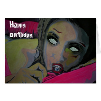 """""""Ett behov i födelsedagkortet för natt"""" (zombien) Hälsningskort"""