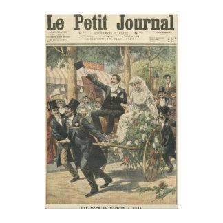 Ett bröllop på en handcart canvastryck