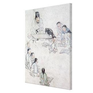 Ett Confucianklassrum (Sodang) (färgtrycket) Canvastryck